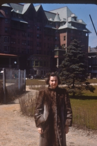 Mom probably in her early 20's, in front of Chateau Frontenac